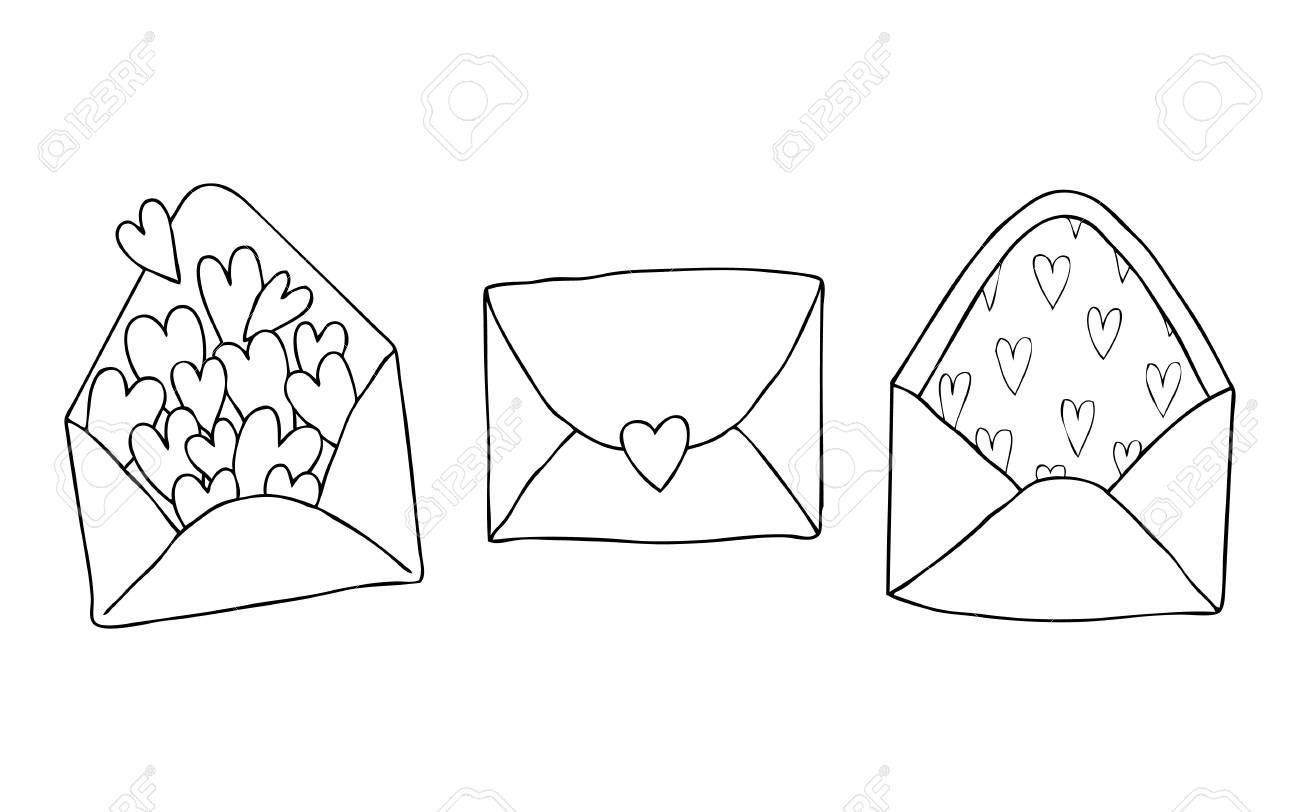 Doodle Hearts pack of three