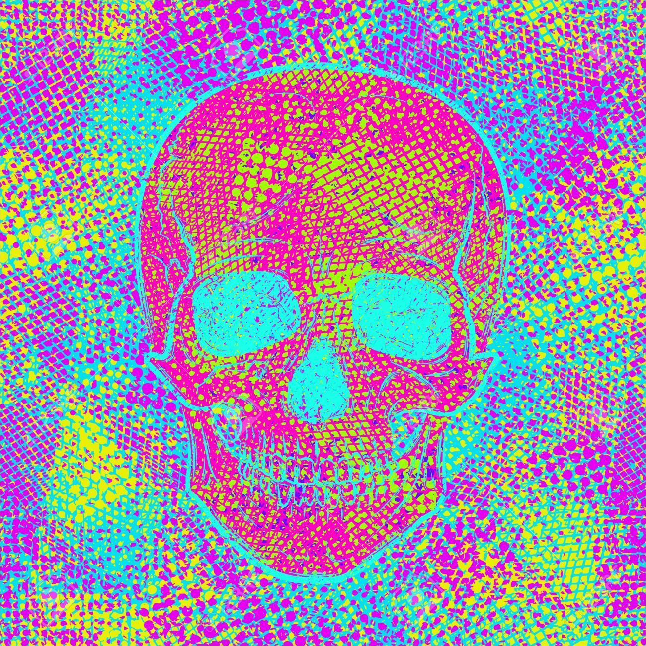 Cráneo En Color Fondo Creativo Caótico. Textura Abstracta Cool ...