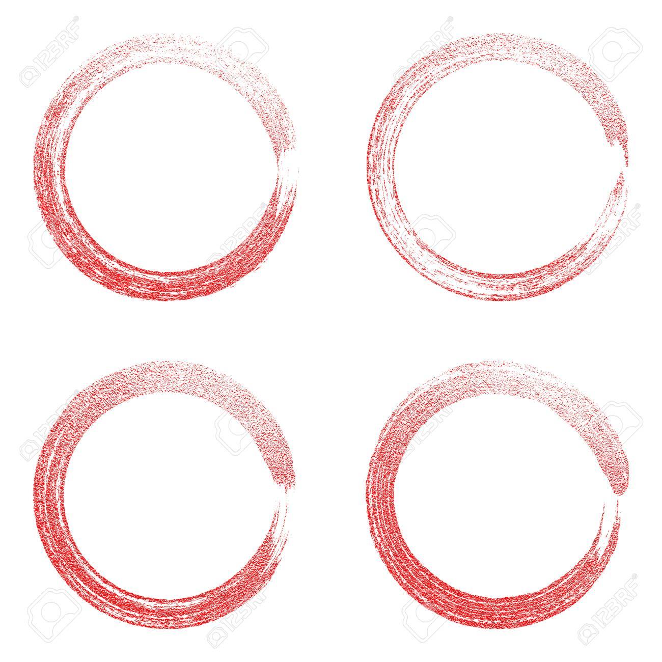 白地に赤い丸のグランジ  フレーム。円高級ビンテージ国境、ラベル、ロゴのデザイン要素。手には、図形のベクトル図が描かれました。ブラシの抽象的な波。アイコンを設定します。