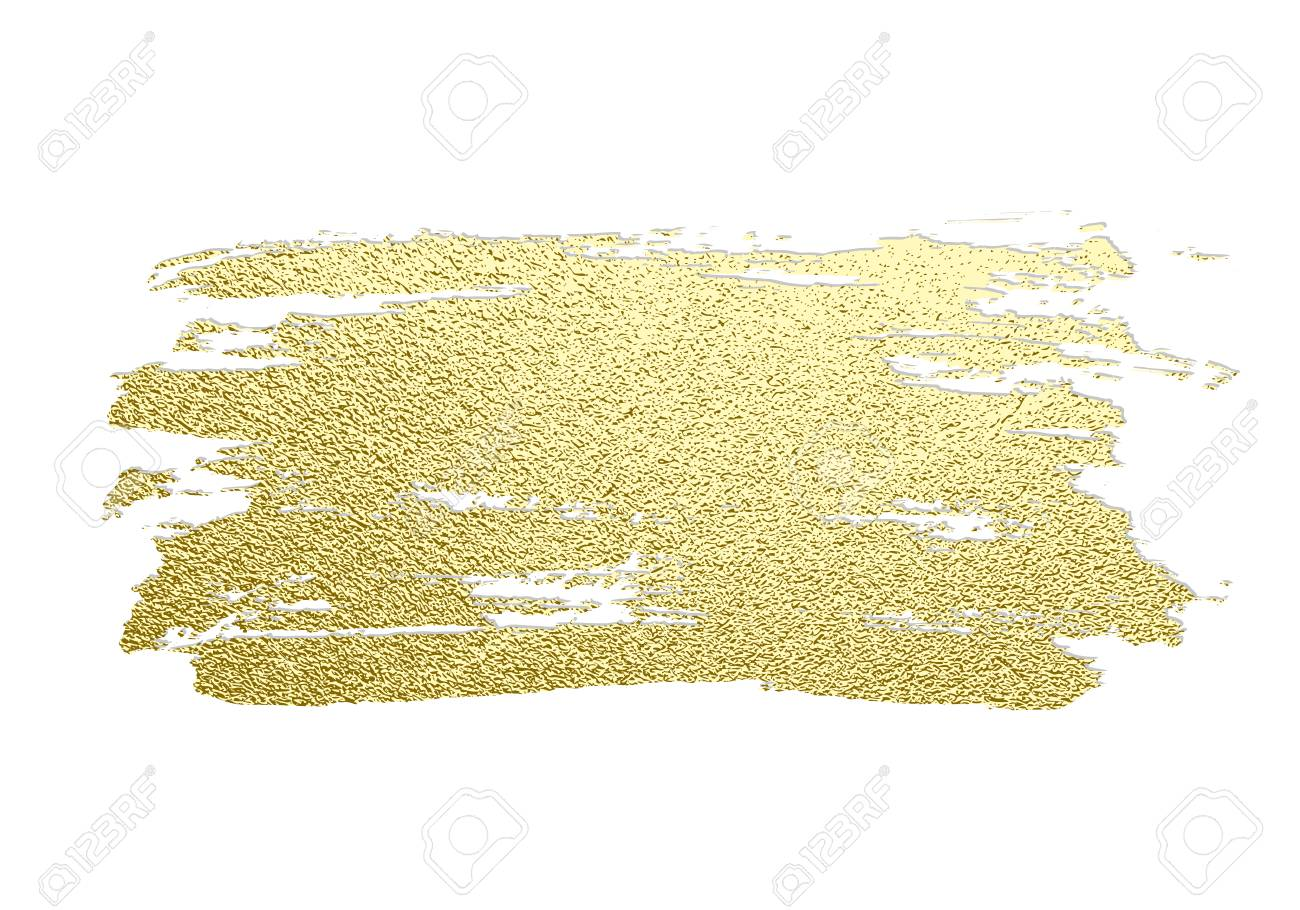 Gold paint stroke. Abstract gold glittering textured art illustration. Hand drawn brush stroke design element. Vector illustration - 106555662