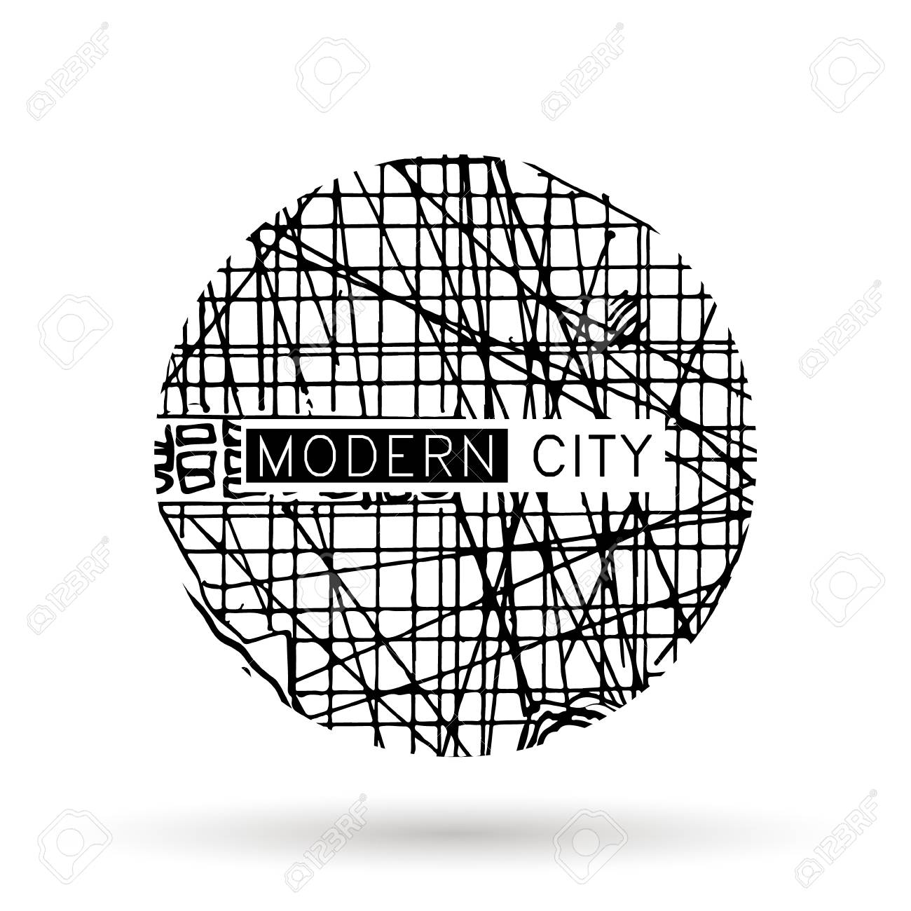 Logo With Ink Doodle Maps, Architecture Drawing Lizenzfrei Nutzbare Doodle Maps on