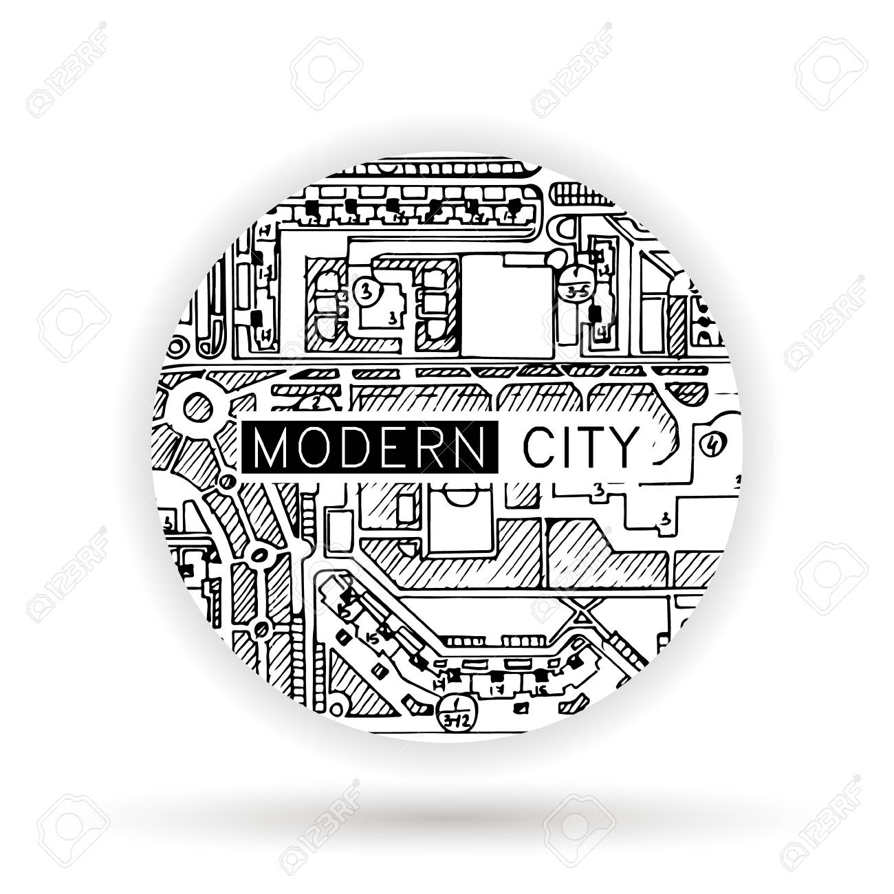 Logo With Ink Doodle Maps, Architecture Drawing Royalty Free ... Doodle Maps on
