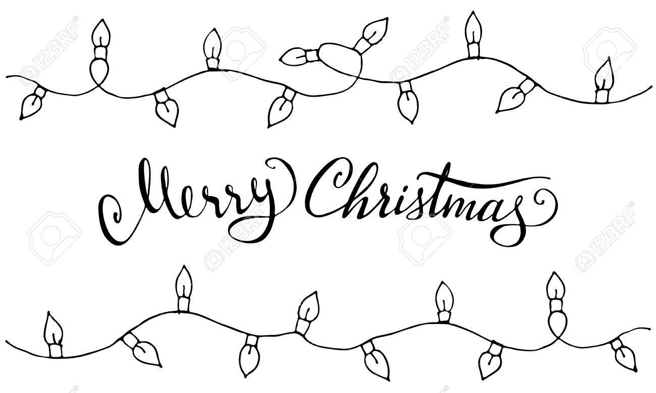 Christmas Garland Drawing.Doodle Christmas Design Elements Cute Hand Drawn Garland Merry