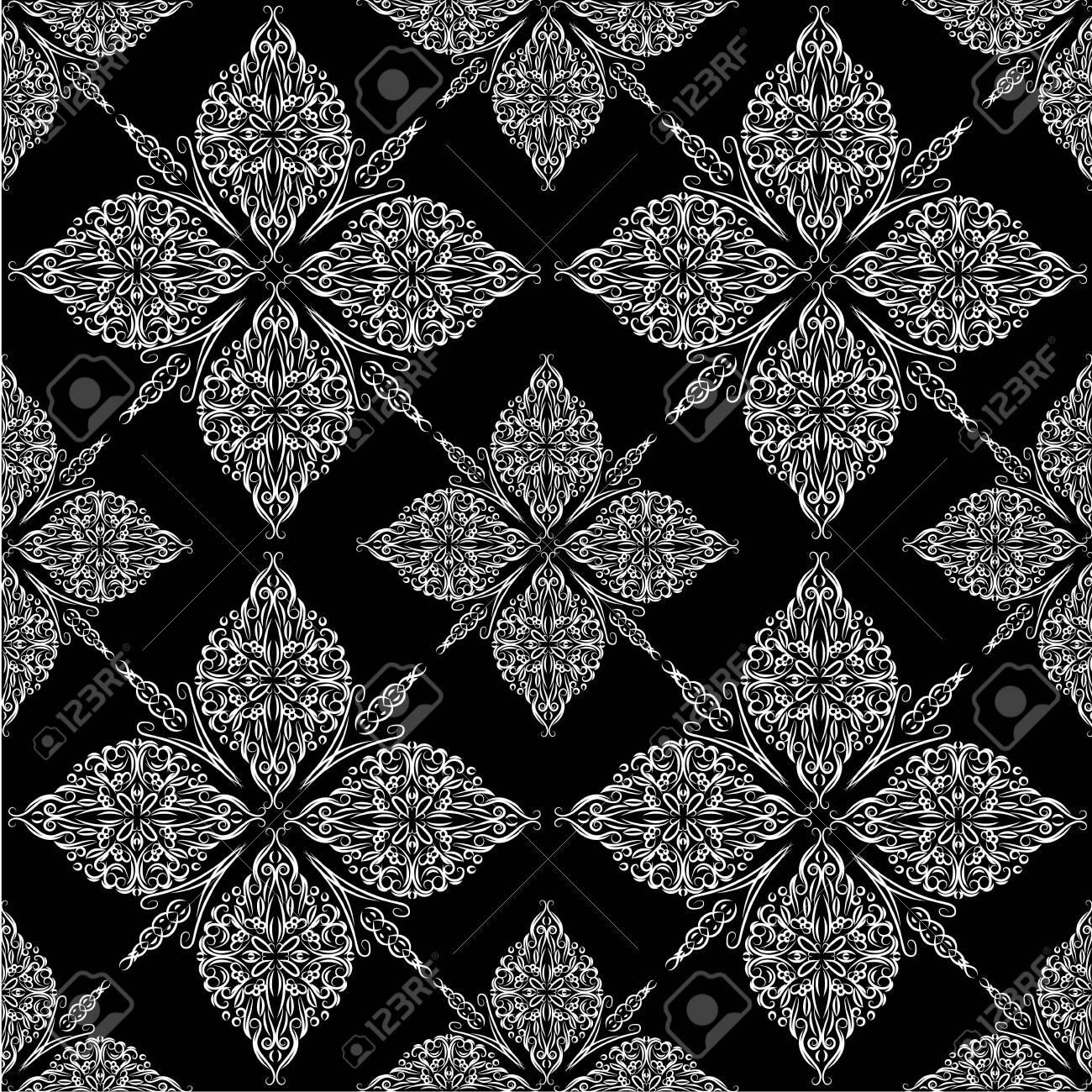 Ornate vintage seamless damask background. Floral baroque ornament in Victorian style. Pattern design, decorative retro decor, vector illustration - 134480829