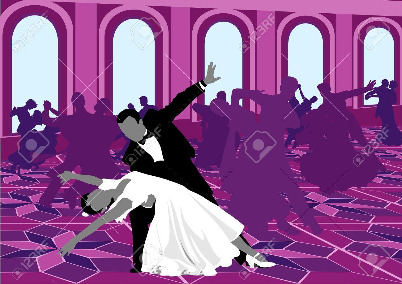 El Baile De Salón. Siluetas De Baile En Color De Rosa. Valse ...