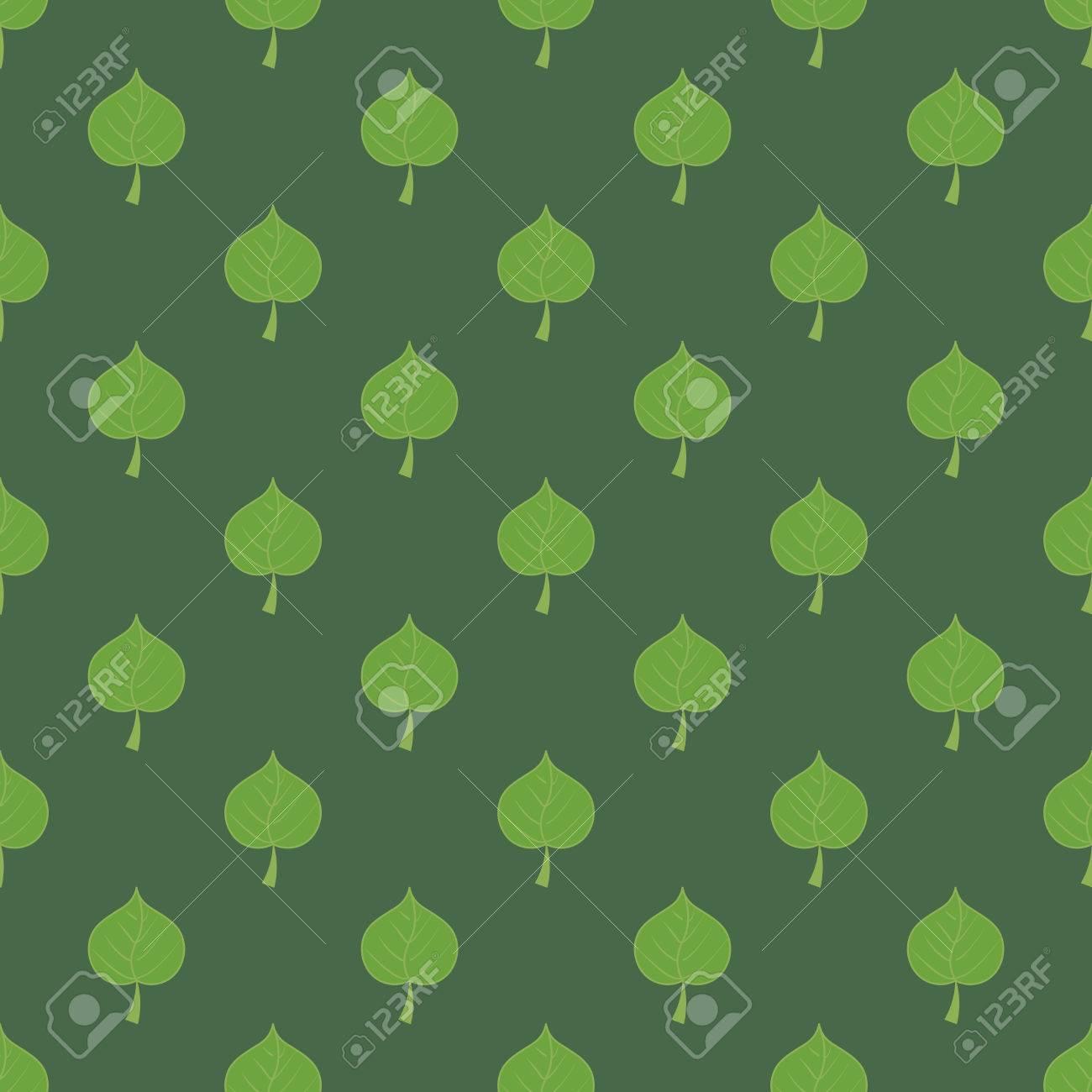 濃い緑色の背景のシームレスなパターンにリンデンの葉 ナチュラルな