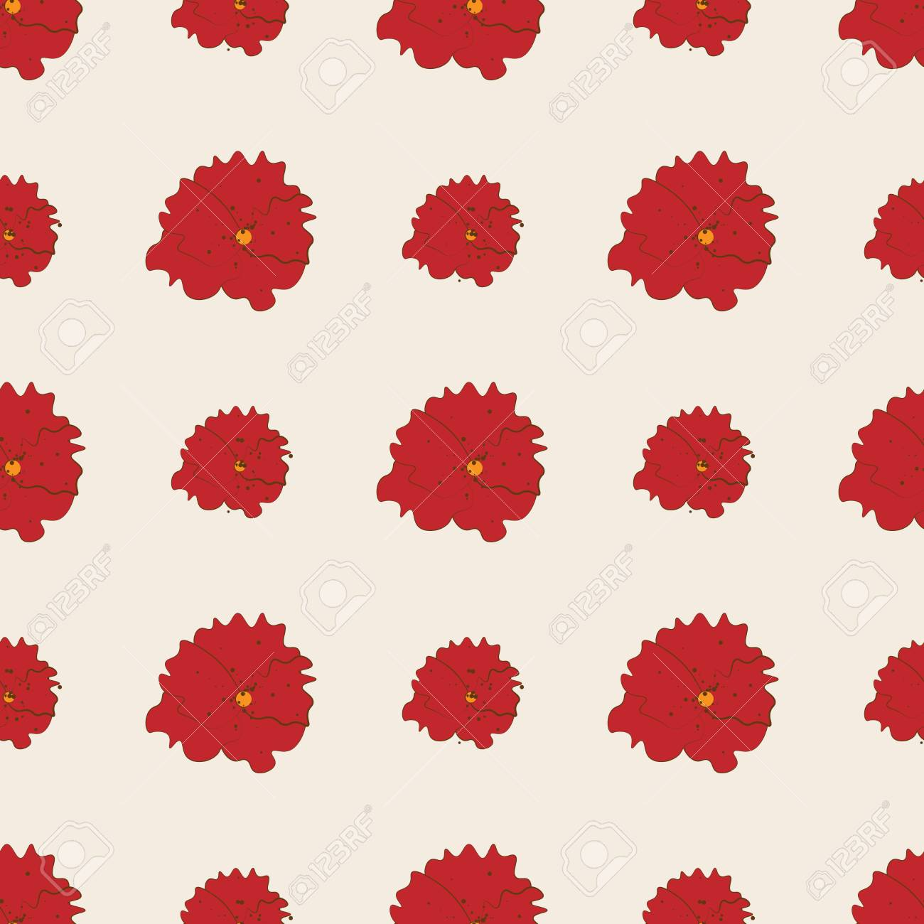 red poppy flowers seamless pattern on white background fashion