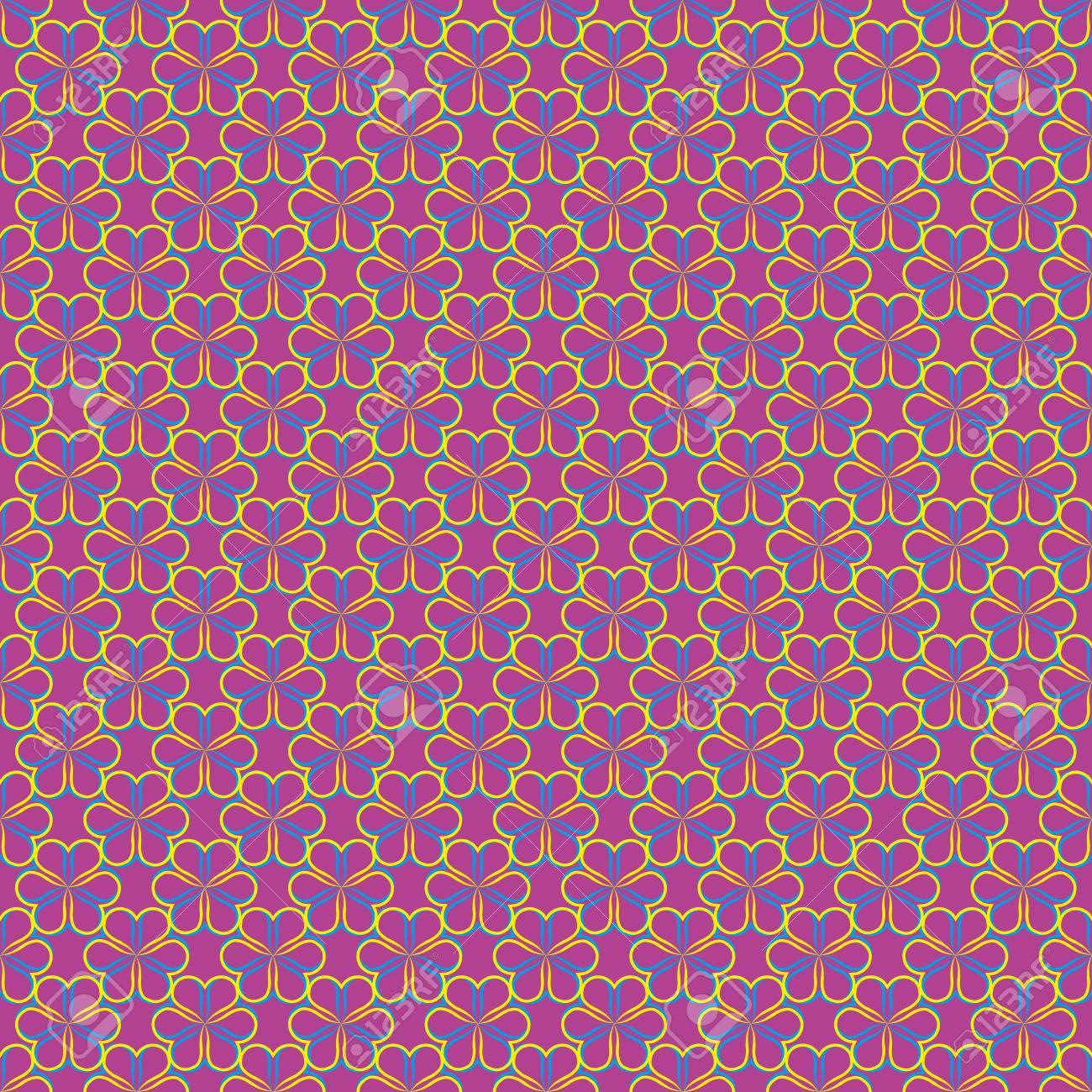 Fiori Blu Gialli Su Sfondo Viola Chiaro Abstract Pattern Senza