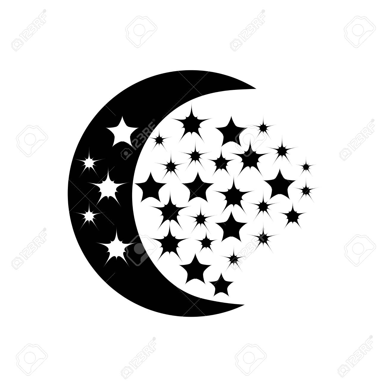 Schwarzer Mond Und Sterne Auf Weißem Hintergrund. Abstraktes ...