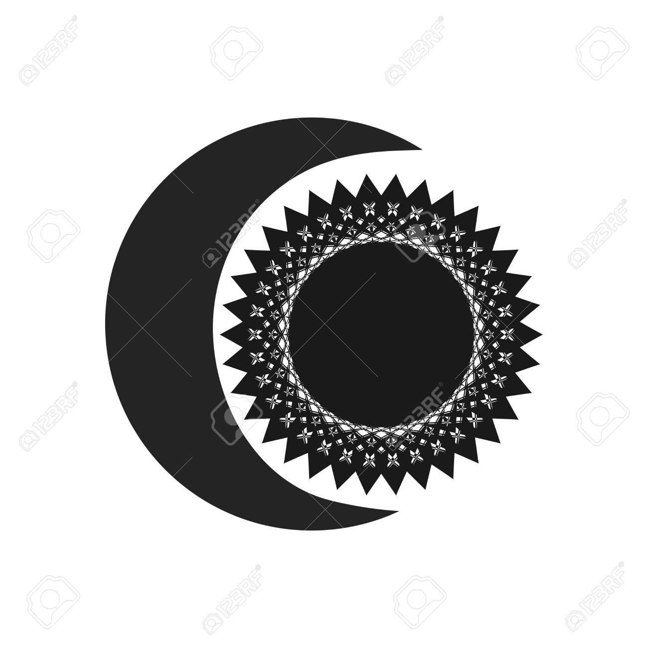 Black moon and sun on white background  Abstract geometric sign