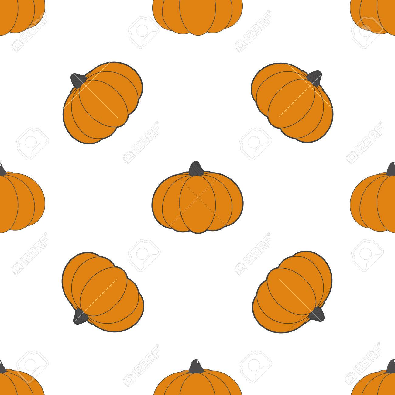 Pumpkins Abstract Seamless Pattern On White Background Fashion