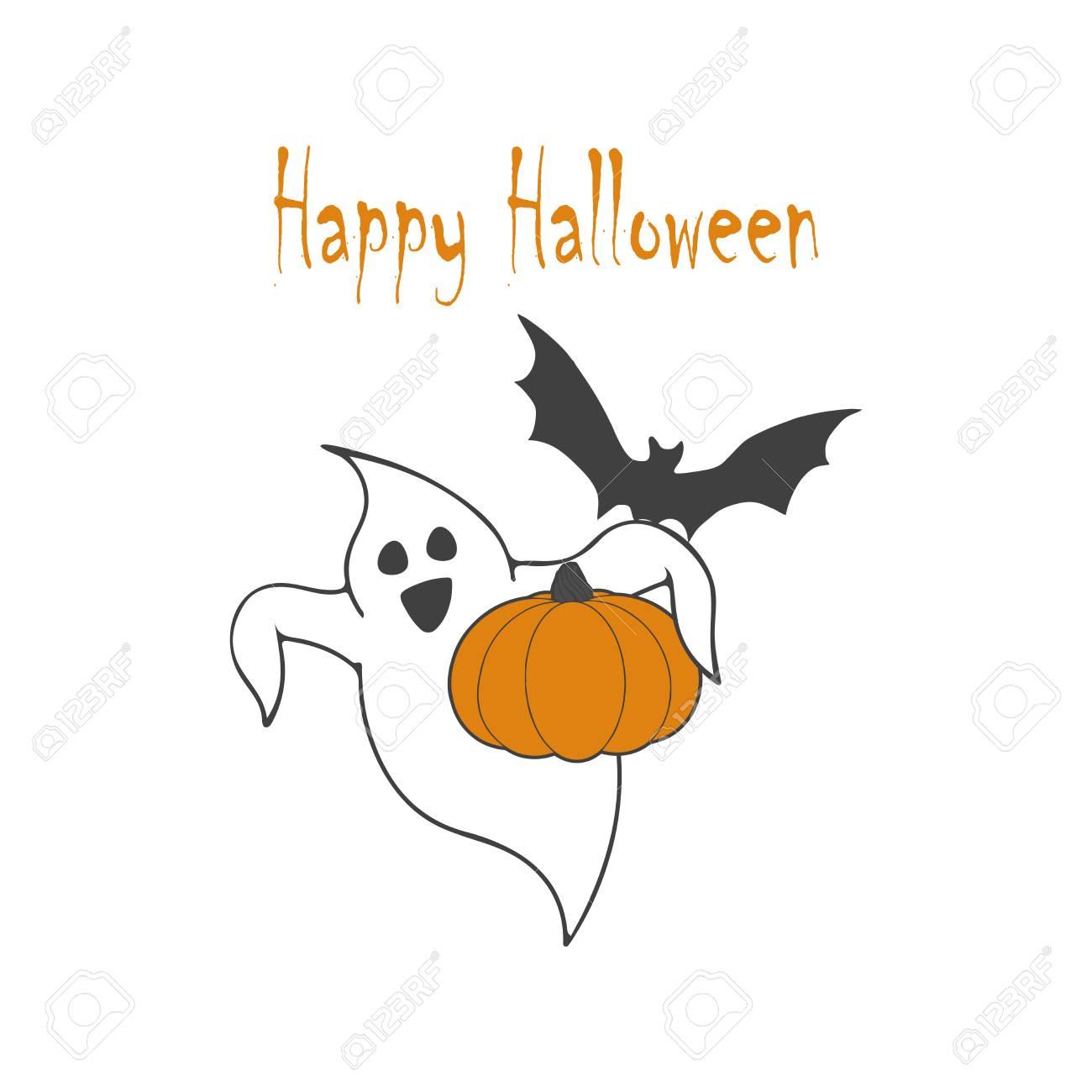 Happy Halloween Poster Avec Fantôme Citrouille Chauve Souris Sur Fond Blanc Gabarit Pour Impressions Décoration Illustration