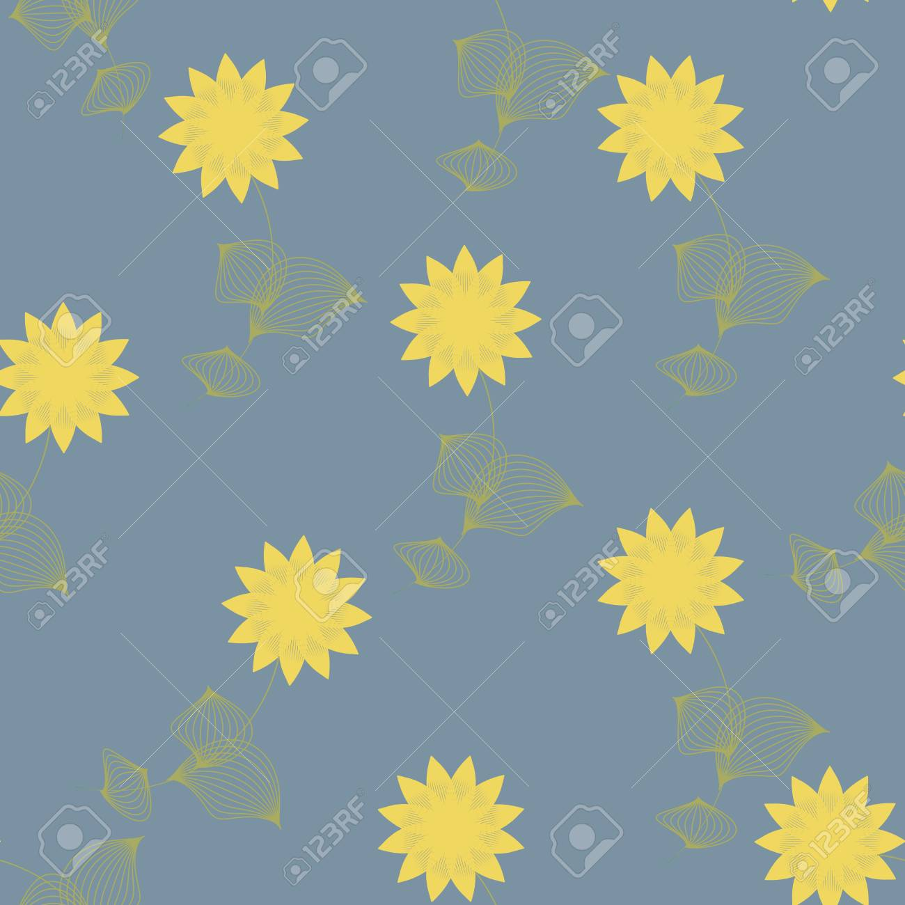 Yellow Flowers With Leaves Seamless Pattern On Grey Background