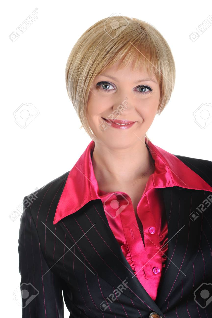 Portrait of beautiful smiling woman in a business suit. Isolated on white background Stock Photo - 6820578