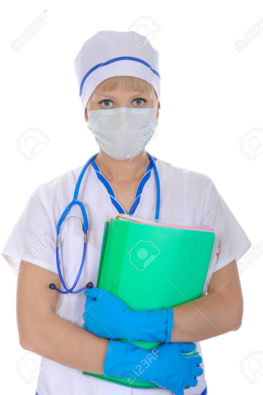 doctor in a mask with documents in hand. Isolated on white background Stock Photo - 6970563
