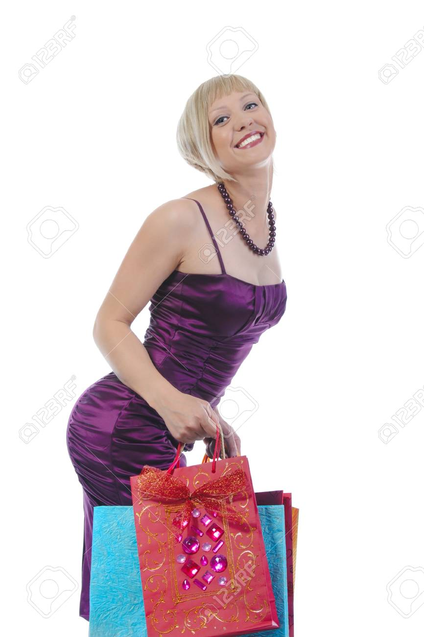 Pretty girl with shopping bags. Isolated on white background Stock Photo - 6970598