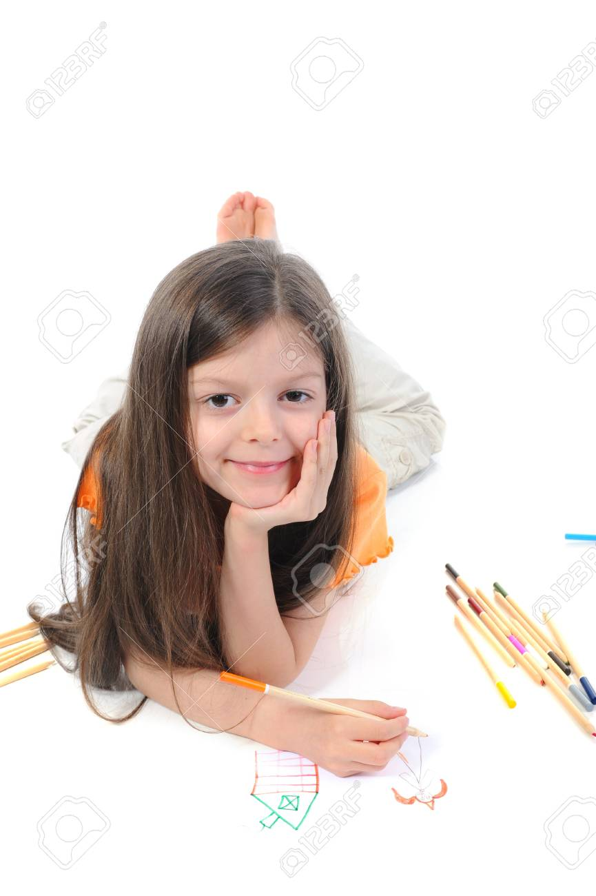 Long-haired little girl draws a princess. Isolated on white background Stock Photo - 7013889