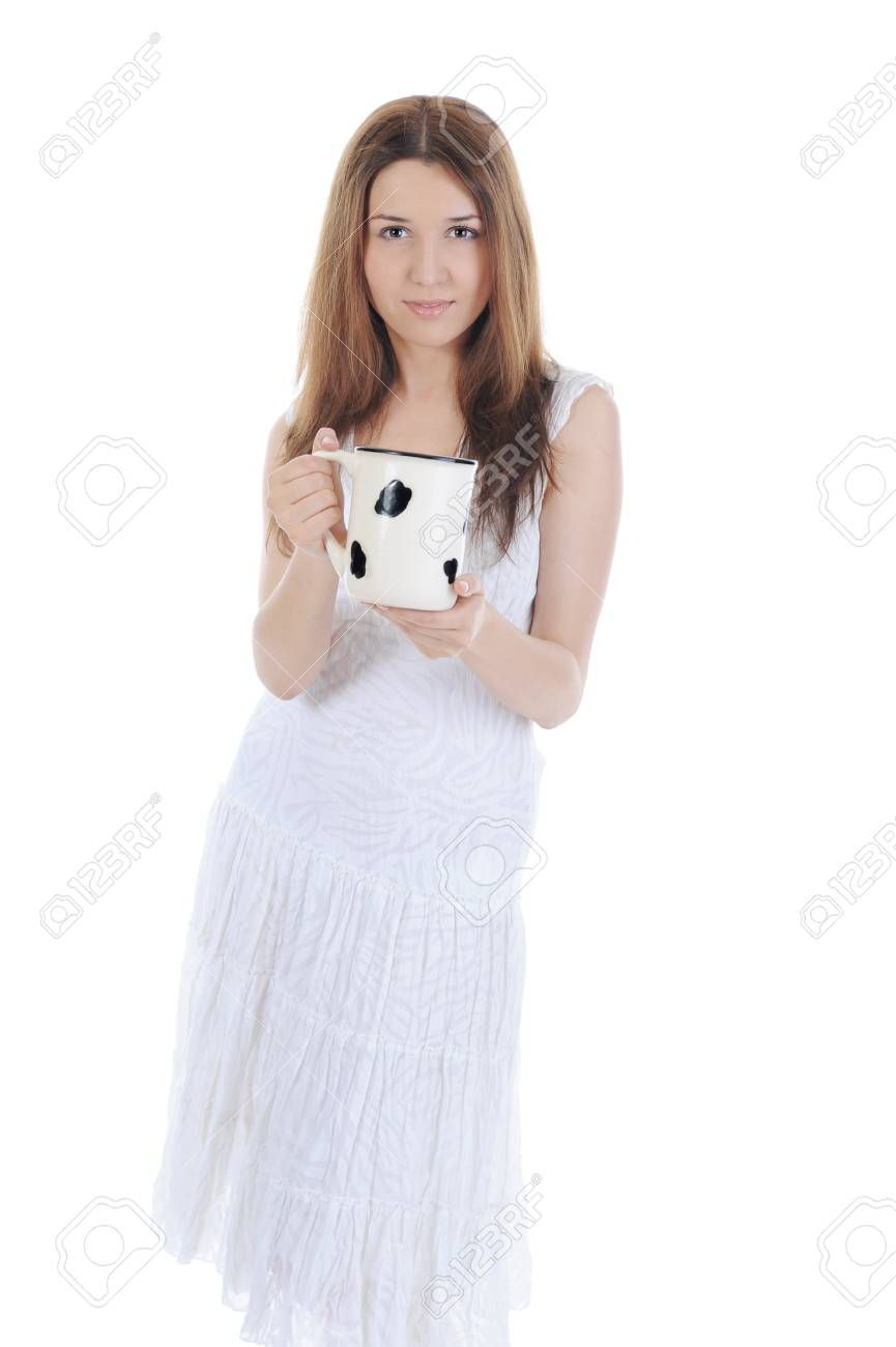 Charming brunette with a big mug in his hands. Isolated on white background Stock Photo - 7086150