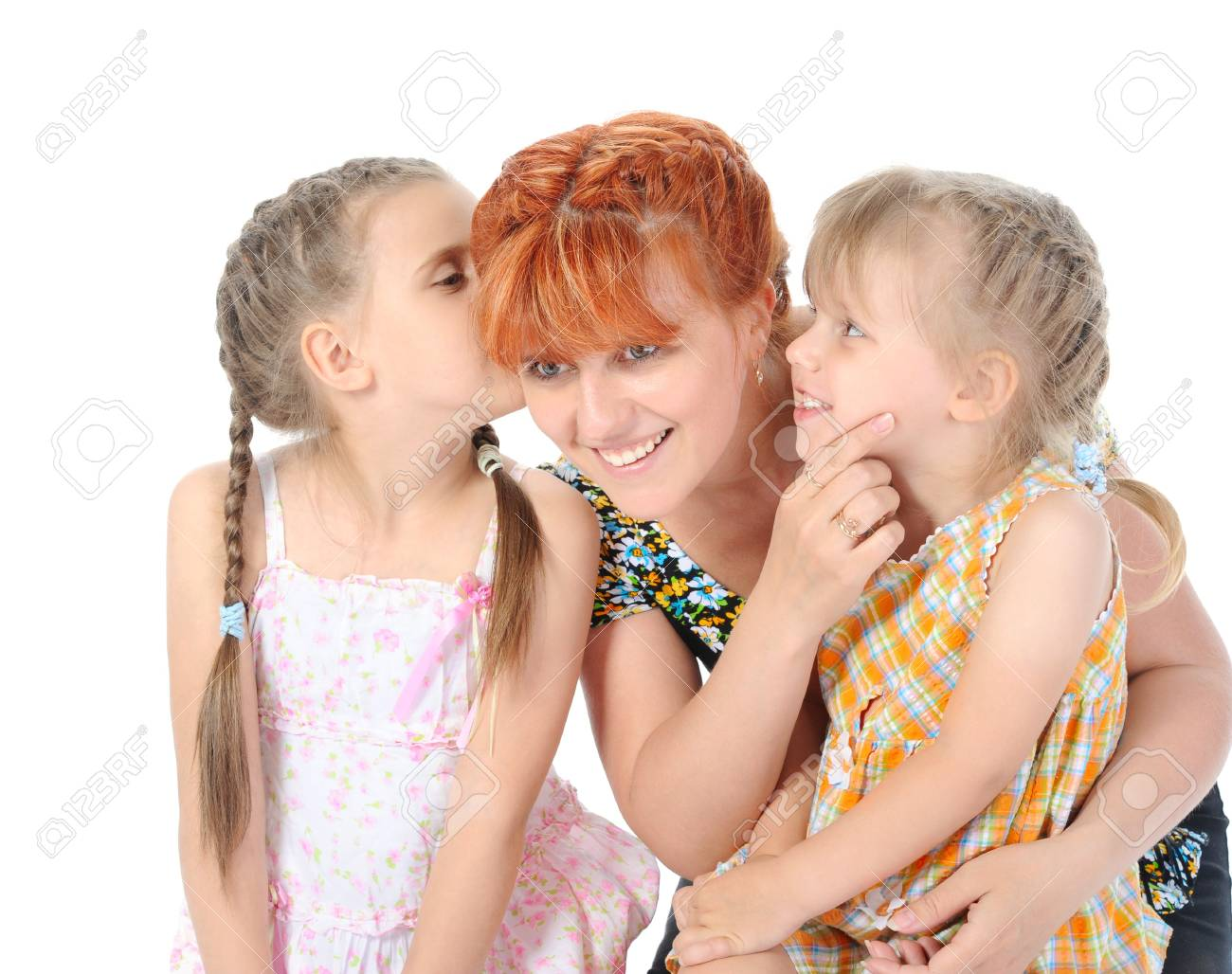 Happy Mother talking with her daughters. Isolated on white background Stock Photo - 7086169