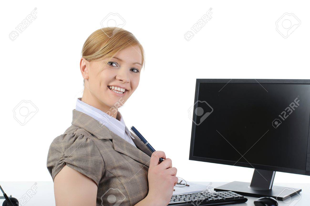 Positive office worker. Isolated on white background Stock Photo - 7124692