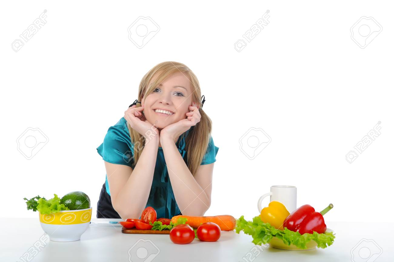 woman preparing vegetables. Isolated on white background Stock Photo - 7172516