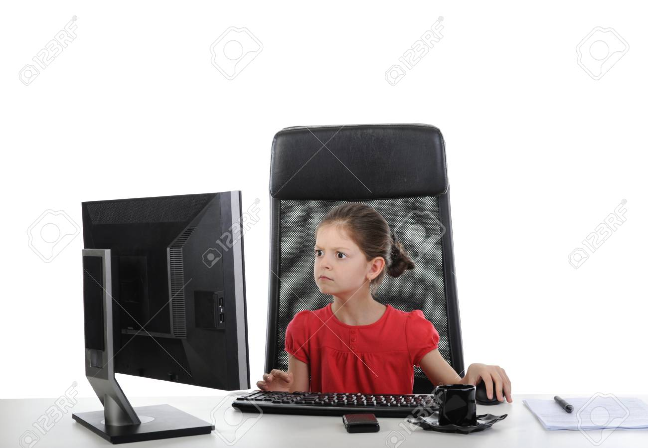 girl in the office computer. Isolated on white background Stock Photo - 7603824