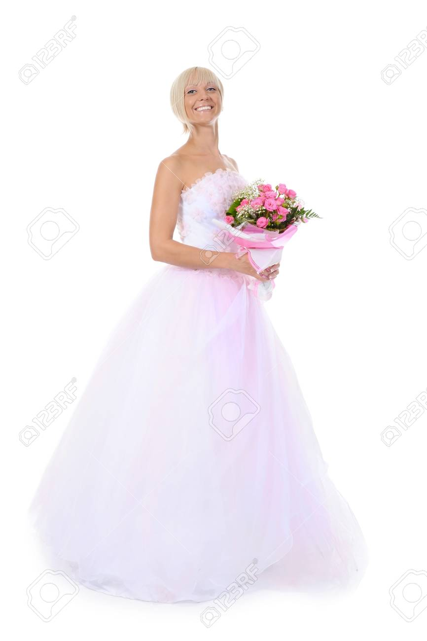 Happy bride with a bouquet. Isolated on white background Stock Photo - 7701459