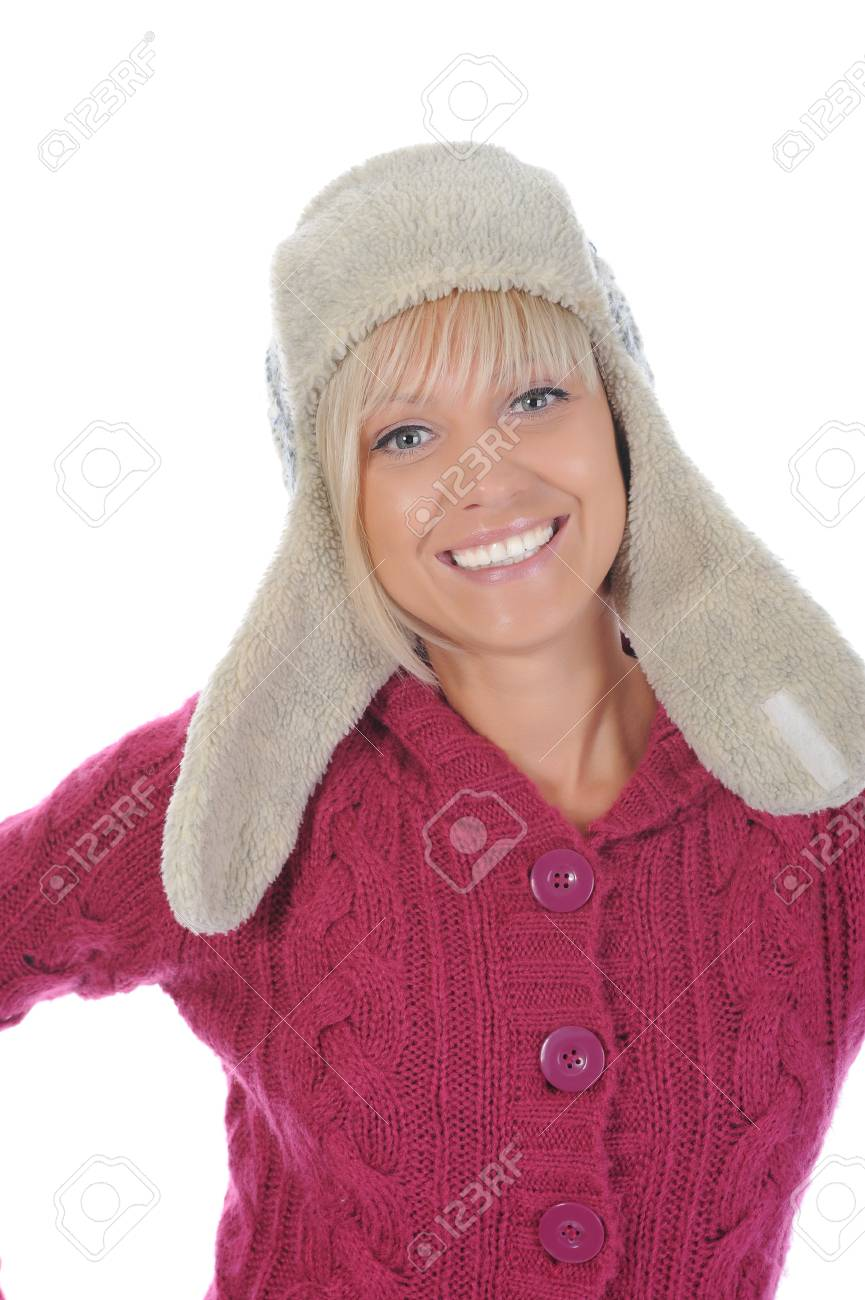 woman in winter style. Isolated on white background Stock Photo - 7701570