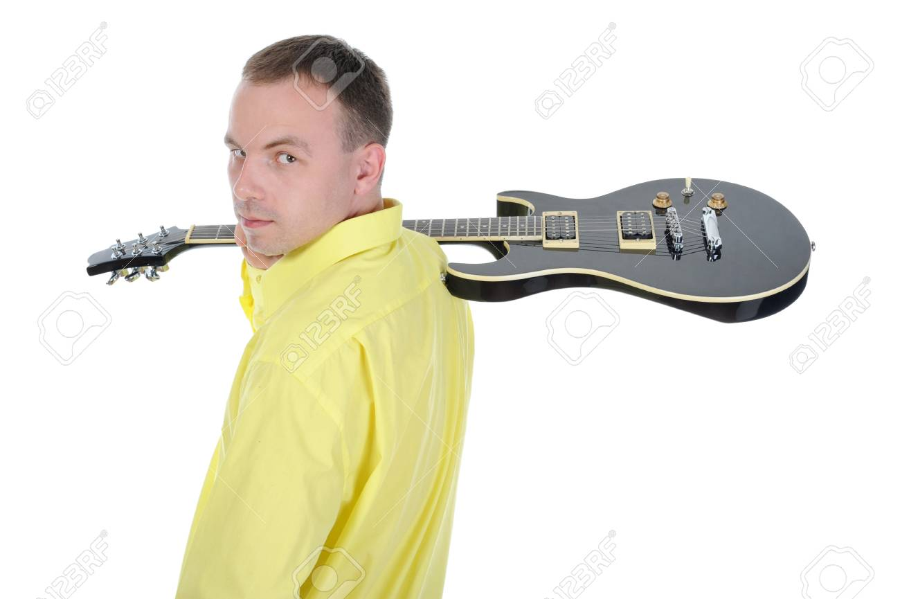 man with a black guitar. Isolated on white background Stock Photo - 7701670