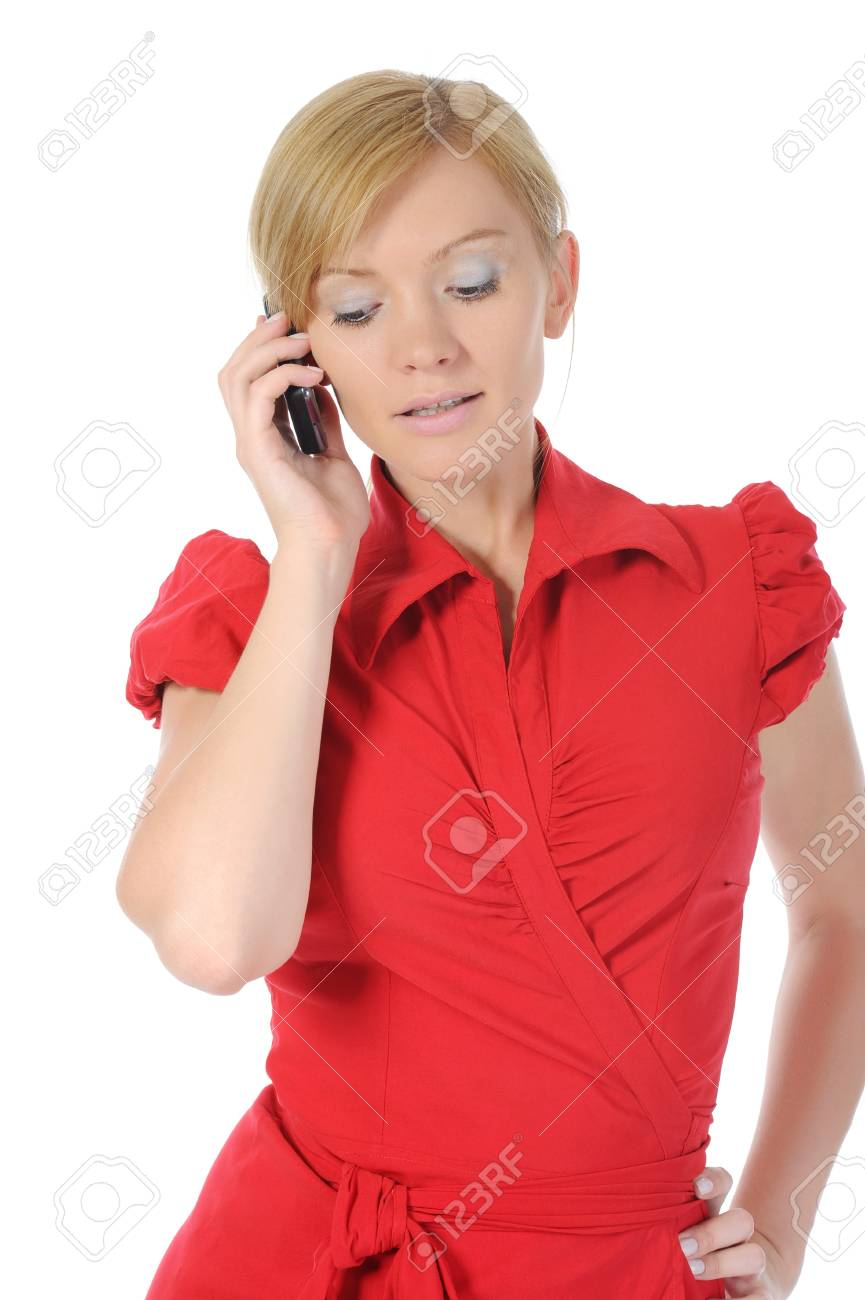 woman talking on the phone. Isolated on white background Stock Photo - 7701719