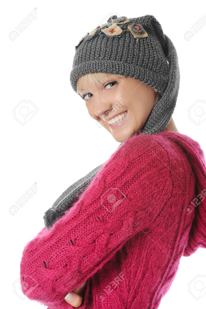 Young woman in winter style. Isolated on white background Stock Photo - 7701731