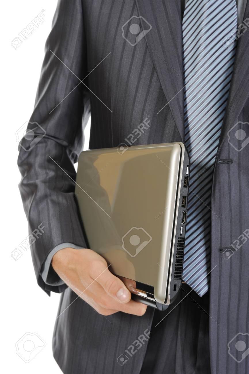 man holding laptop. Isolated on white background Stock Photo - 7799354