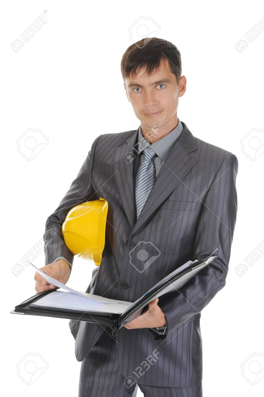 Businessman with construction helmet. Isolated on white Stock Photo - 7799448
