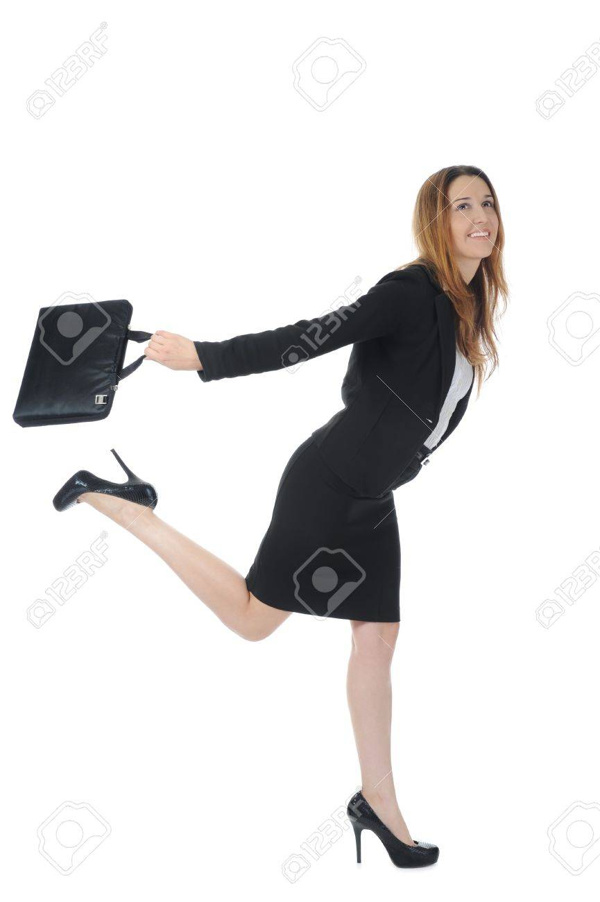 running business woman. Isolated on white background Stock Photo - 7799383