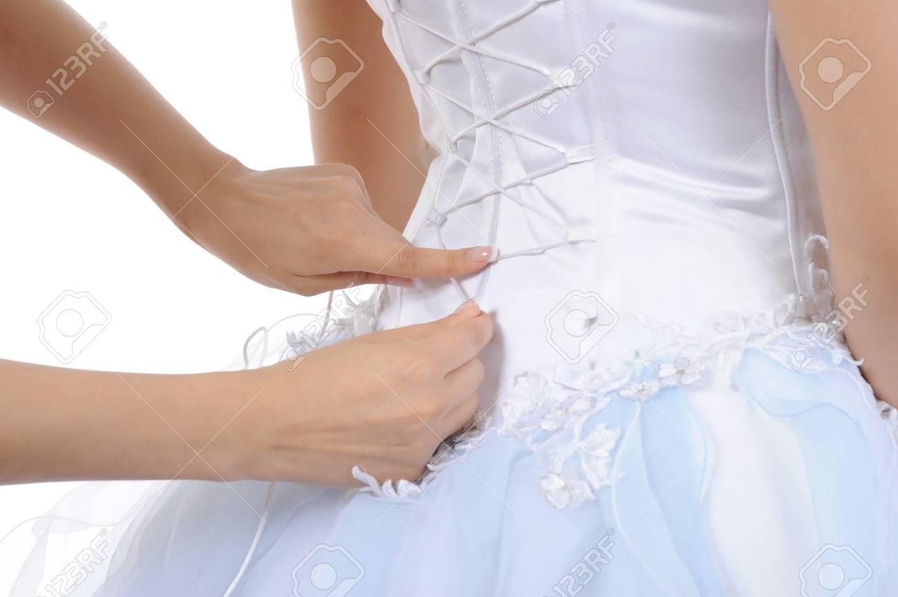 Silk white corset bride. Isolated on white background Stock Photo - 7799432