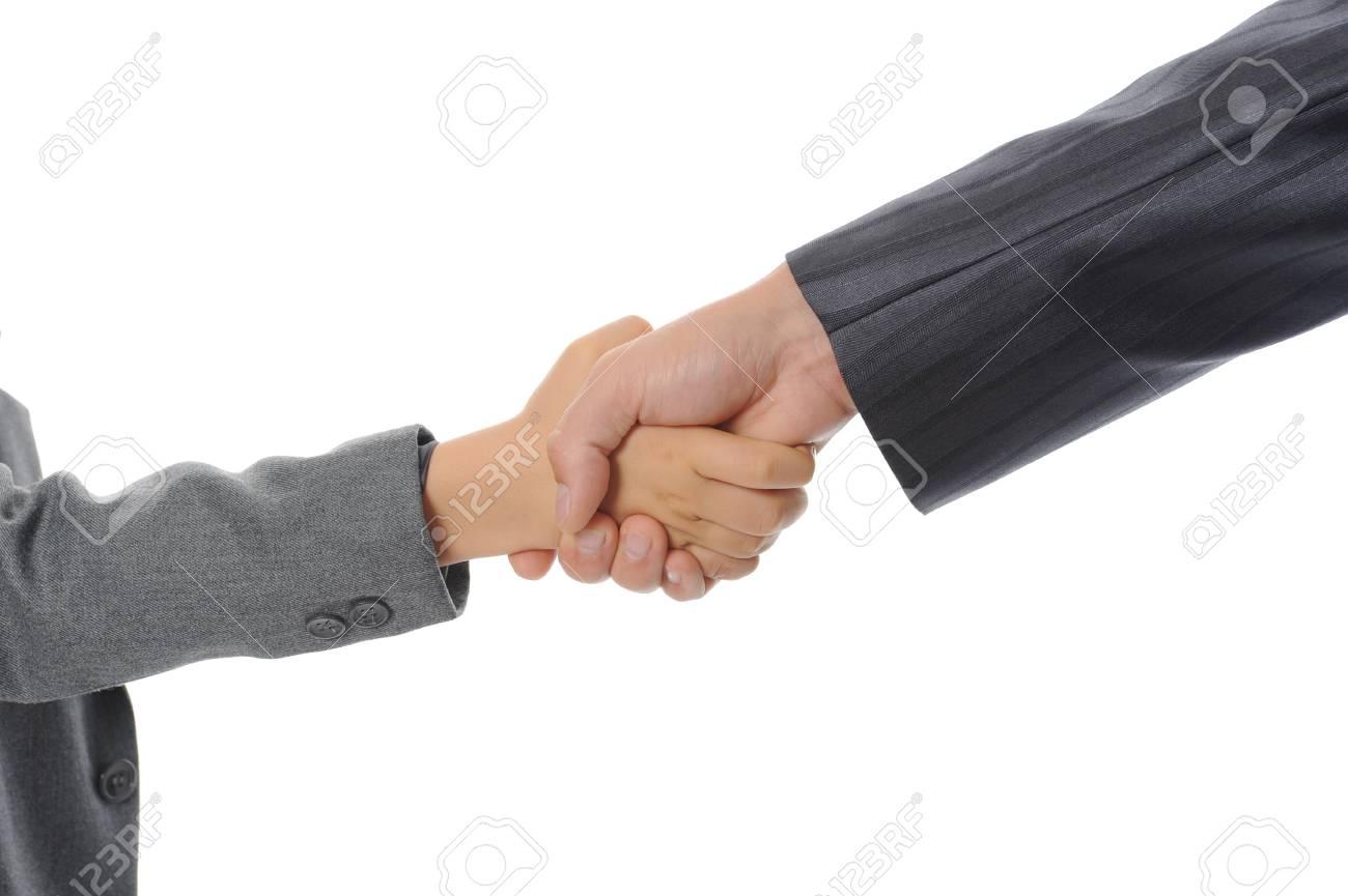 Handshake man and little boy. Isolated on white Stock Photo - 7799467