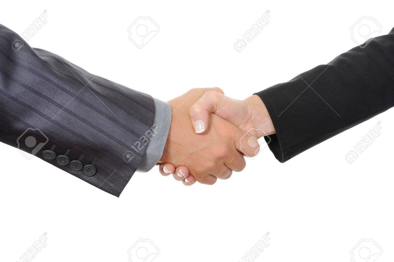 Handshake two business partners. Isolated on white Stock Photo - 7799447