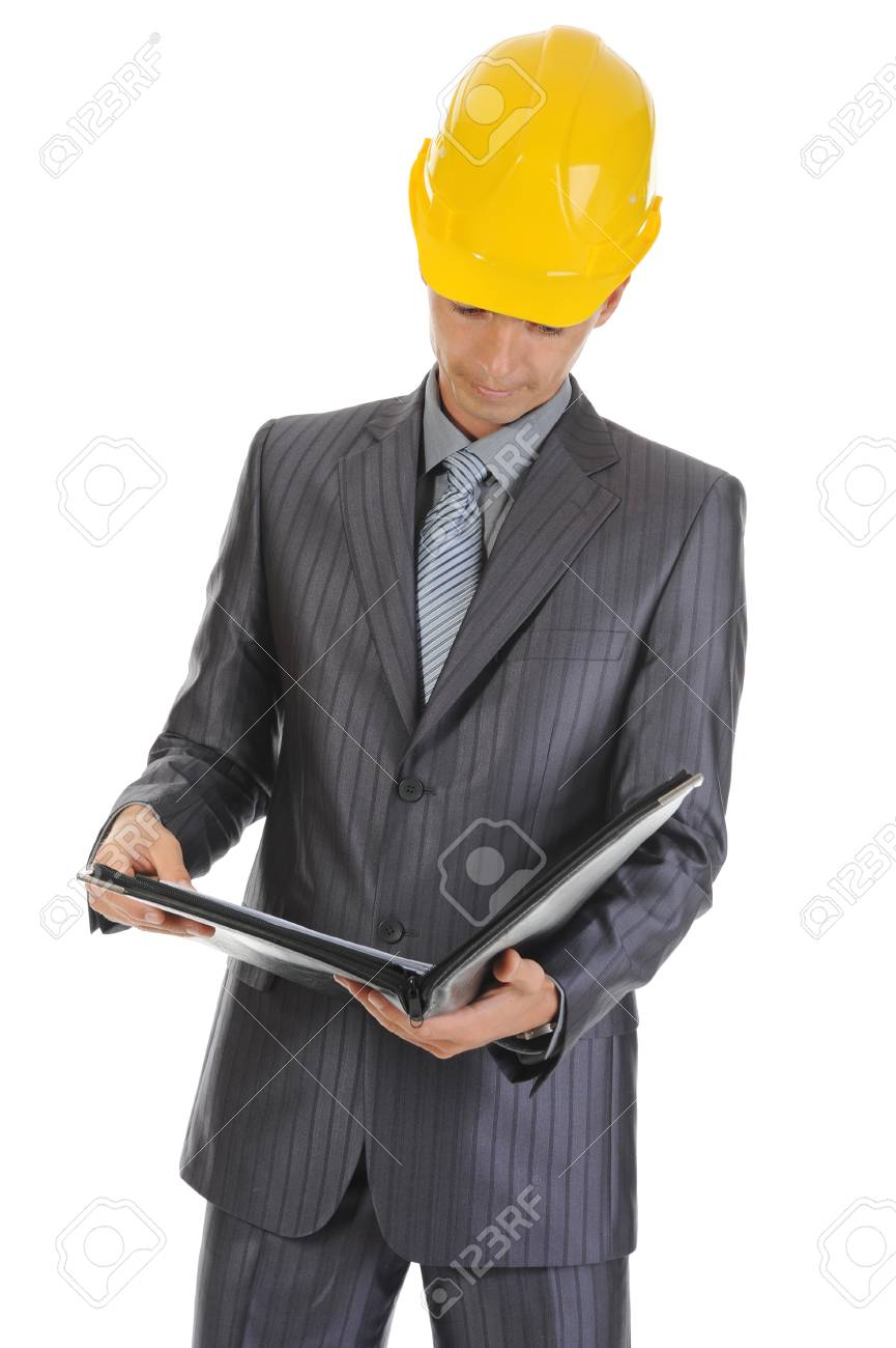 businessman at a construction. Isolated on white background Stock Photo - 7799689