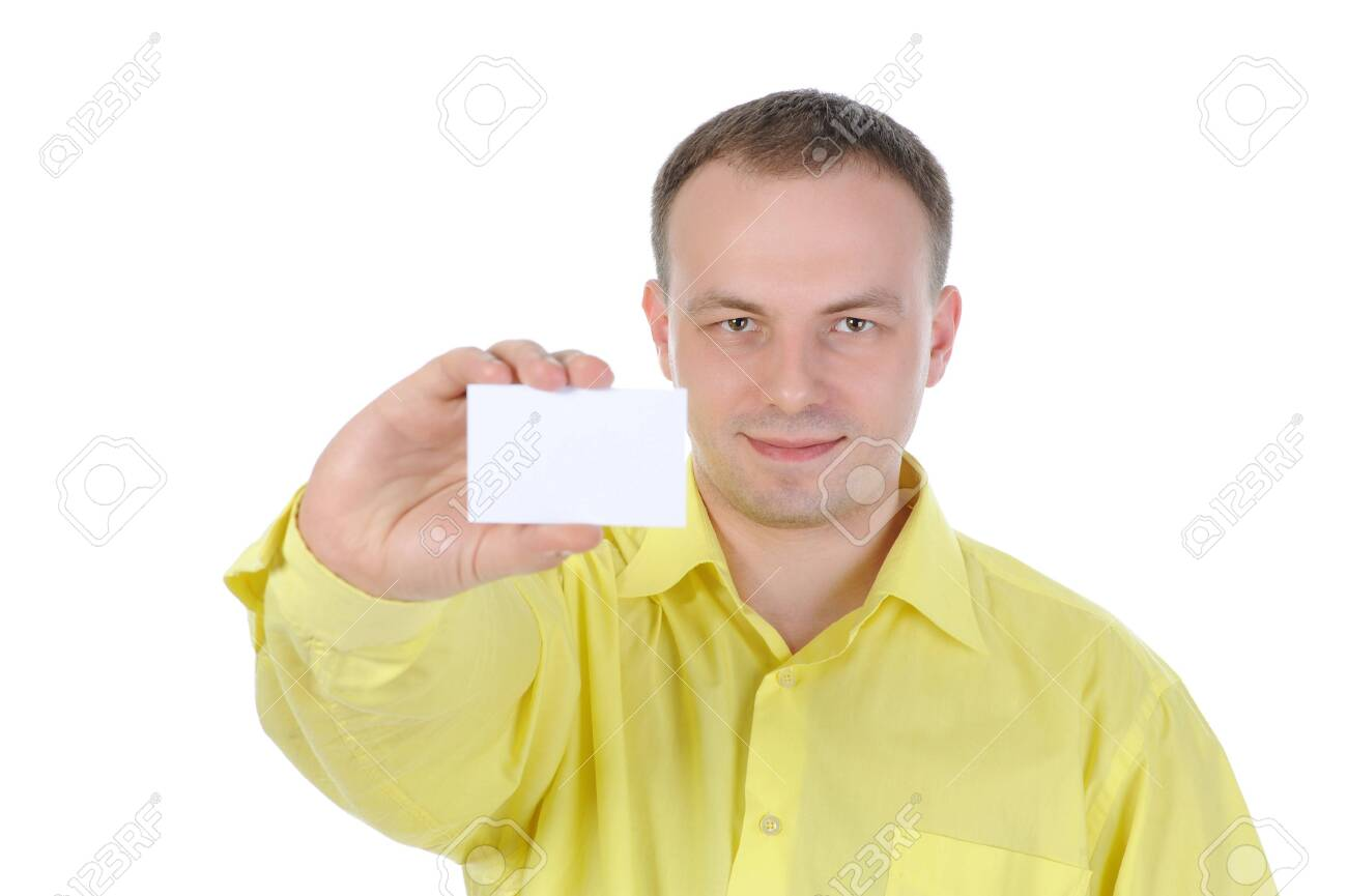 man handing a white blank. Isolated on white Stock Photo - 7799845