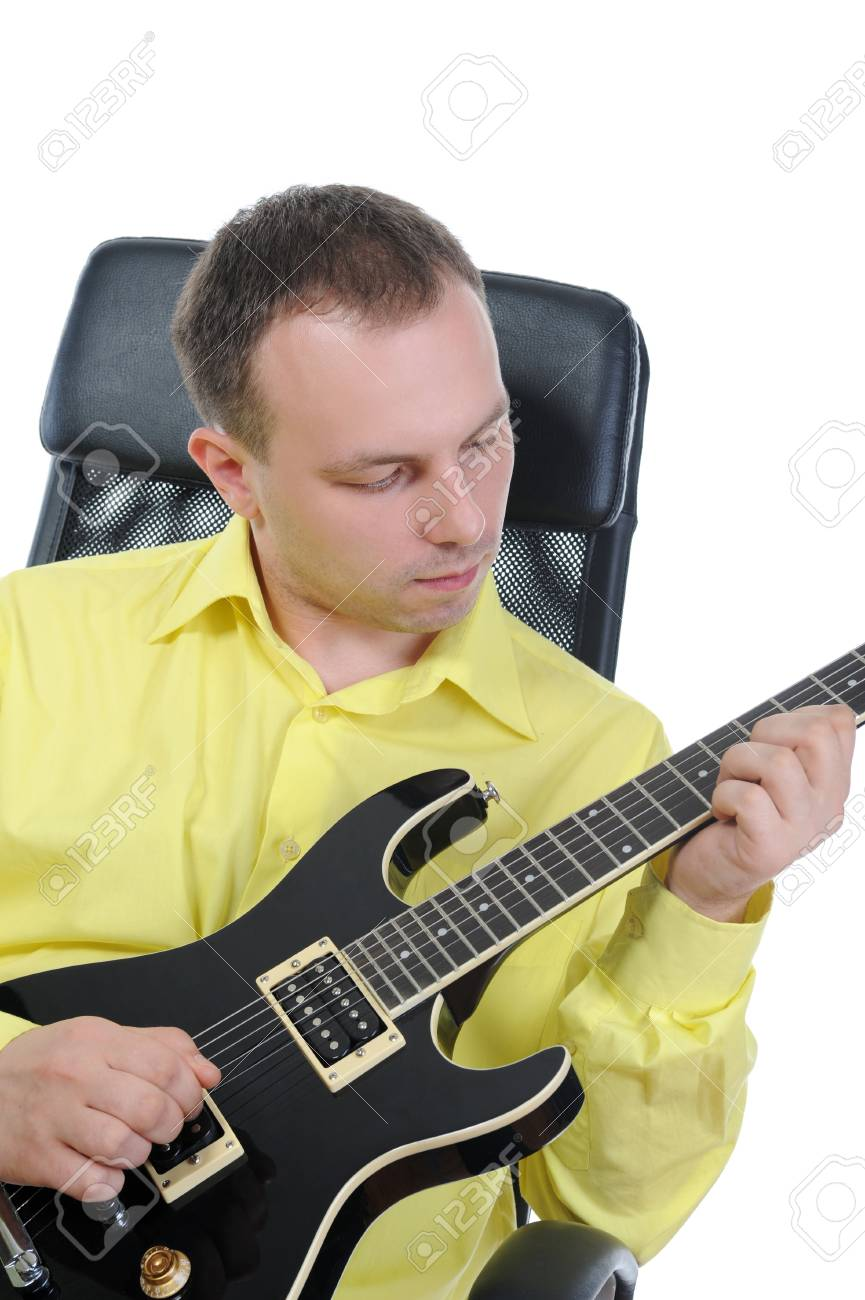 man with a black guitar. Isolated on white Stock Photo - 7799855