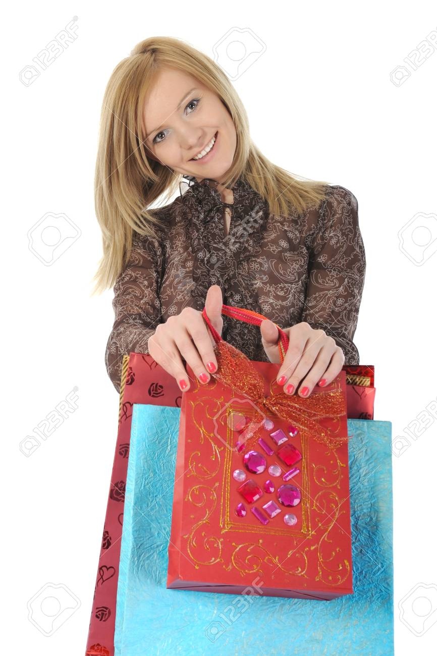 Happy women with shopping bags. Isolated on white background Stock Photo - 7799857