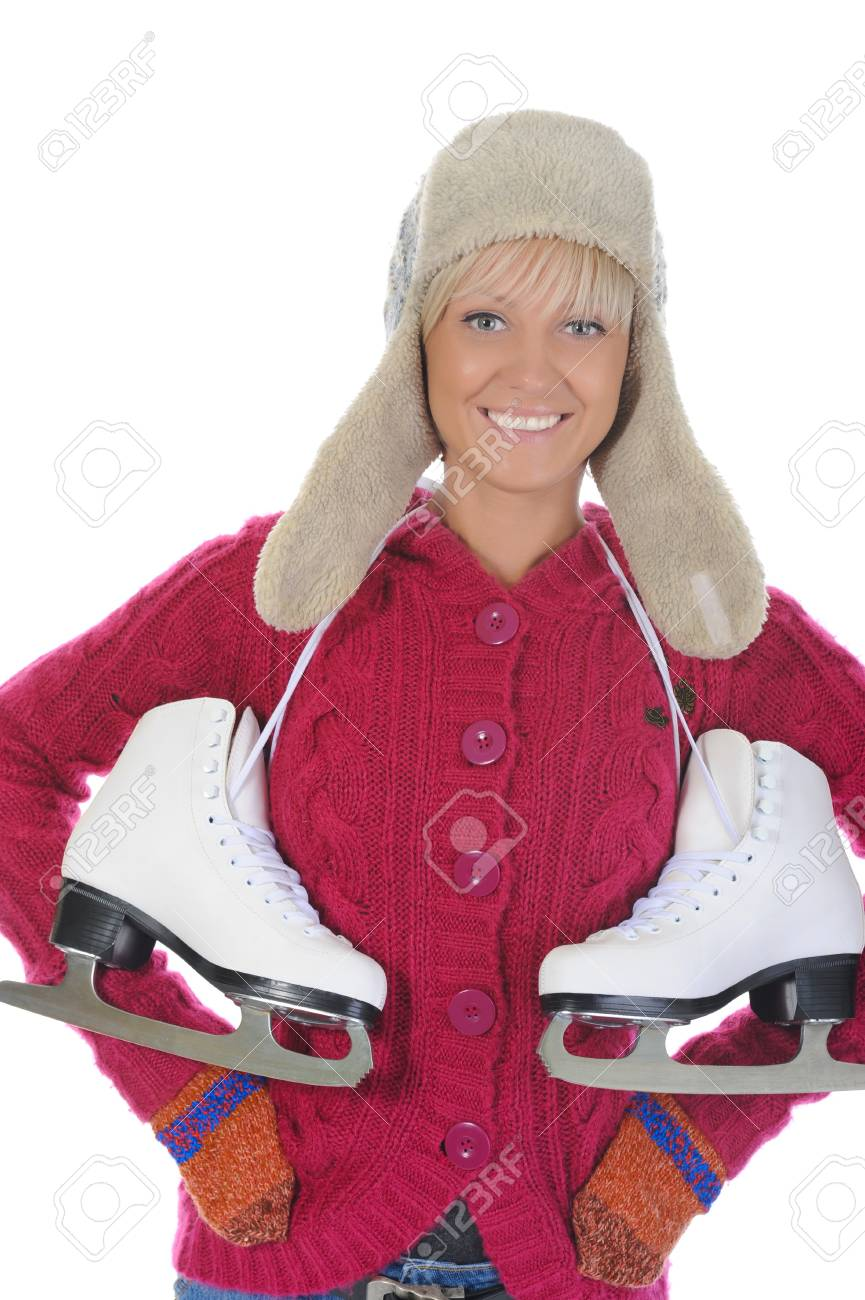 Young woman with skates. Isolated on white background Stock Photo - 7799952