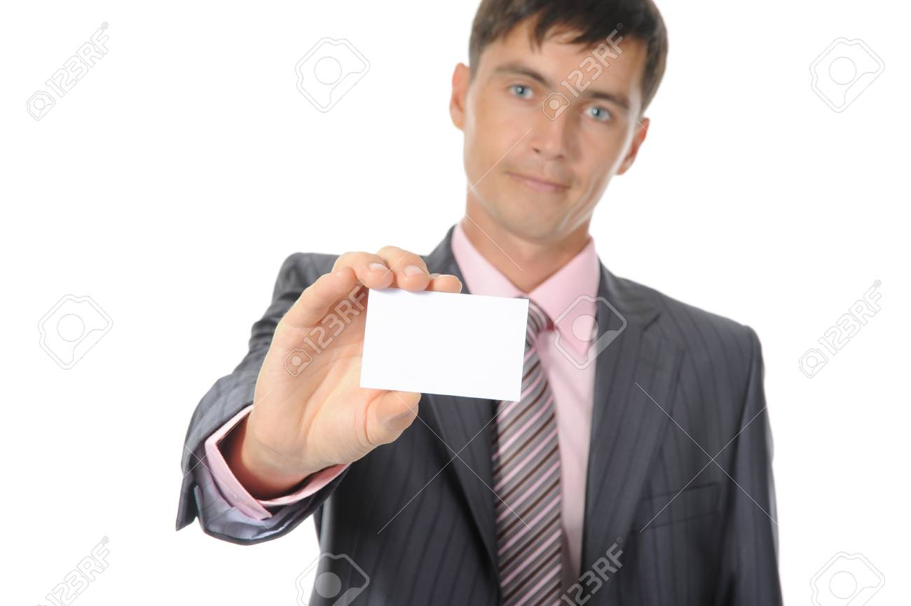man handing a white blank. Isolated on white background Stock Photo - 7890710