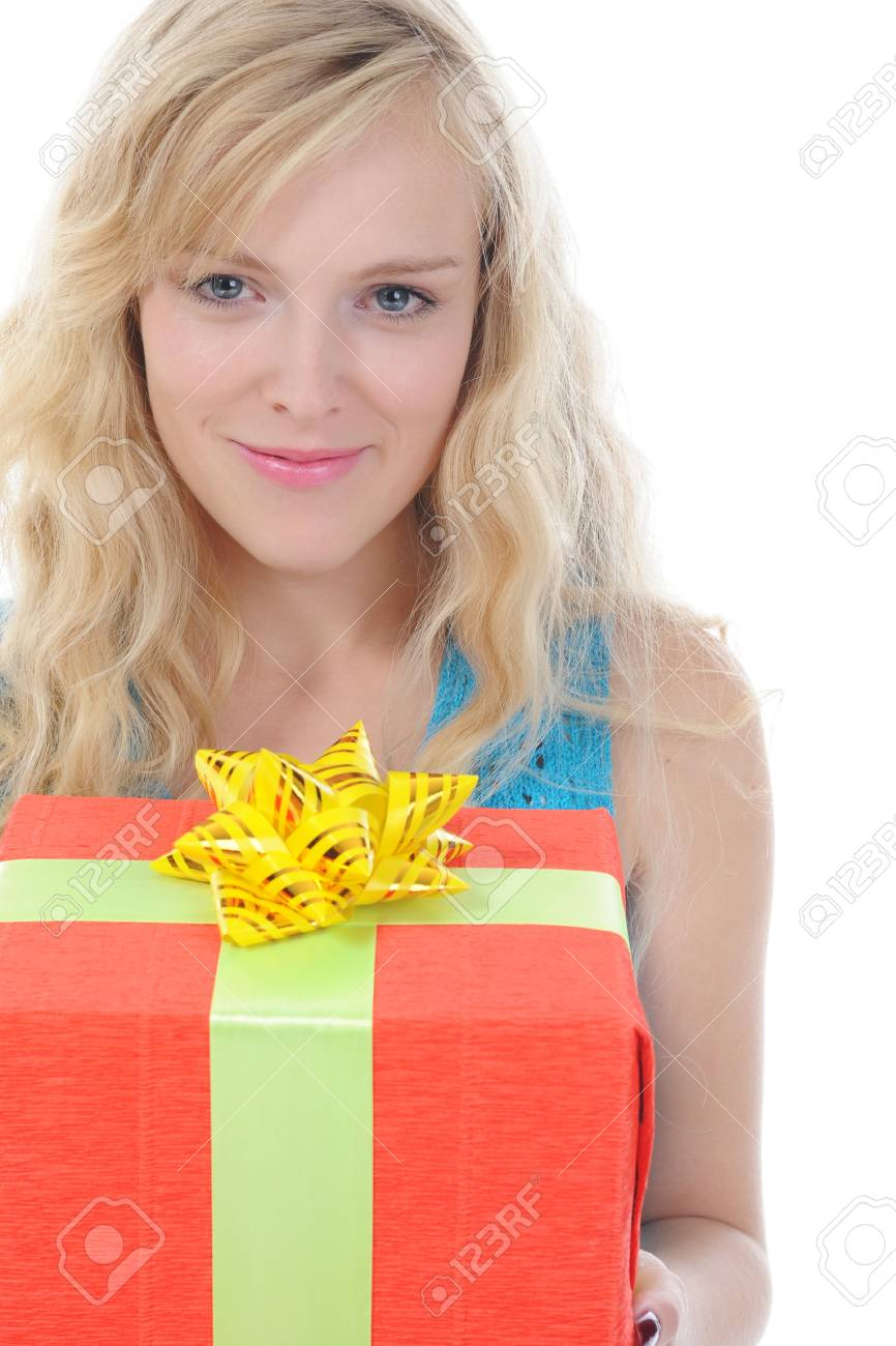 blonde with a gift box. Isolated on white background Stock Photo - 7890818