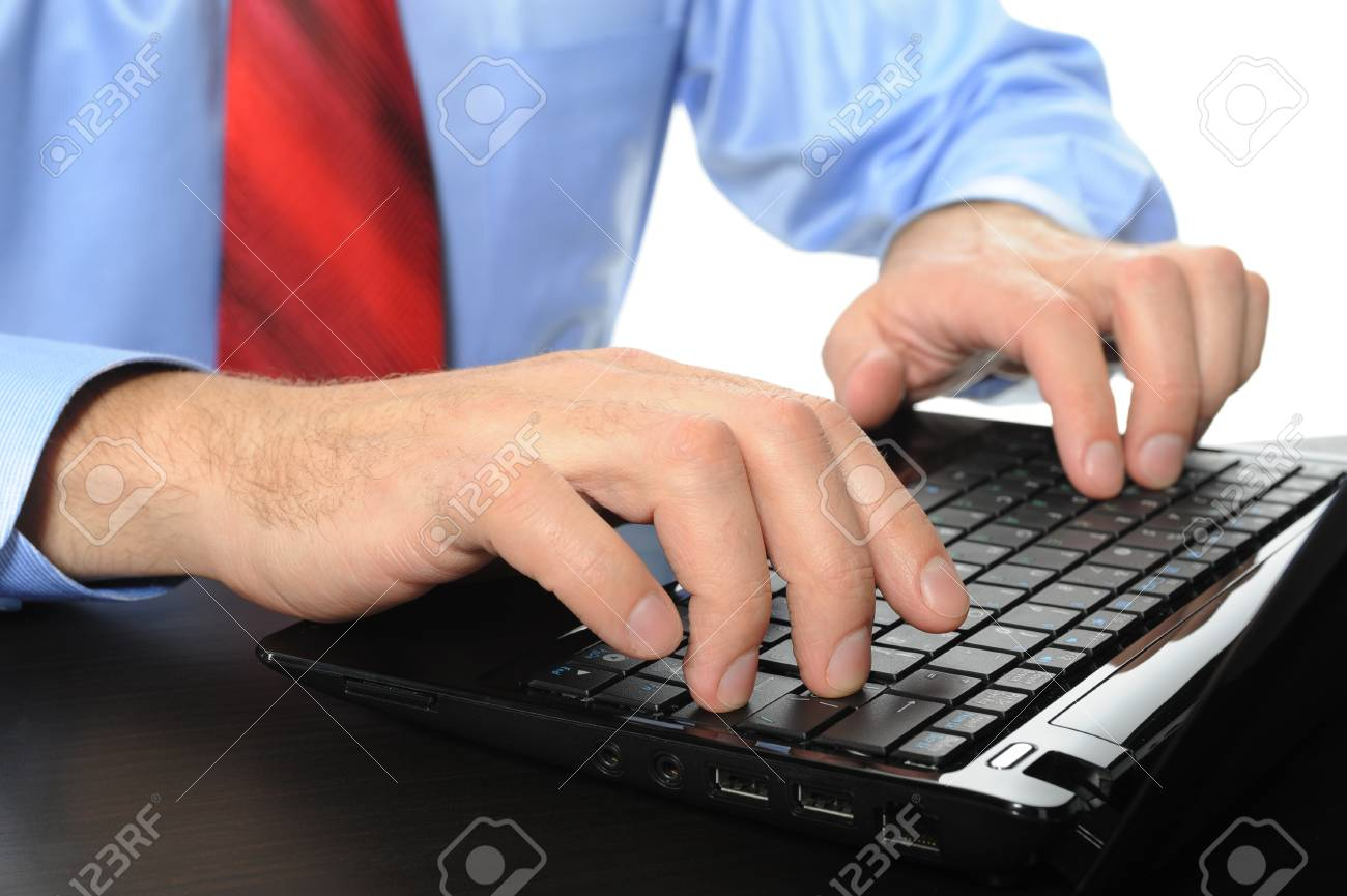 Image of hands businessman on the laptop keyboard. Isolated on white background Stock Photo - 7905850