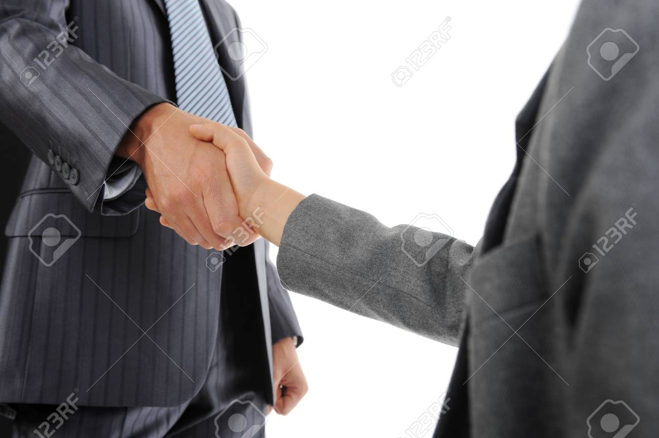 Handshake man and little boy. Isolated on white Stock Photo - 7905853