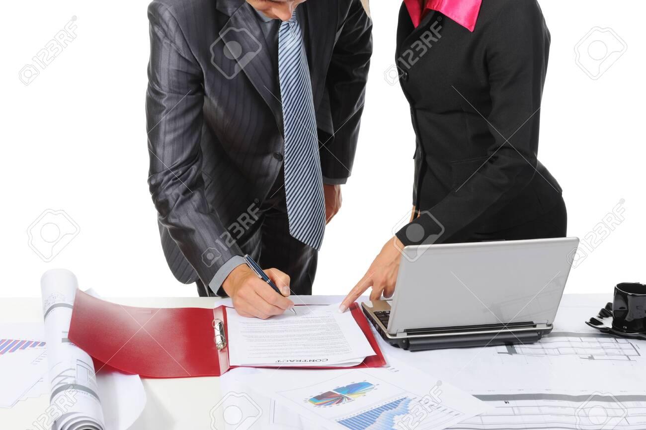 Signing the document partners. Isolated on white background Stock Photo - 7891018
