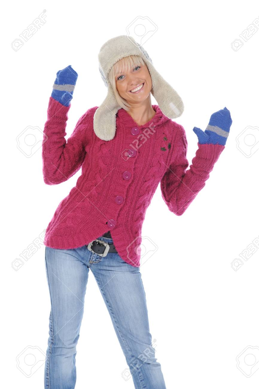 Smiling woman in winter style. Isolated on white background Stock Photo - 7983417