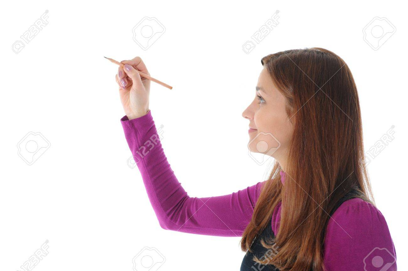 Businesswoman holding a pen. Isolated on white background Stock Photo - 7983509