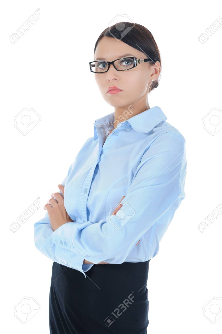 Portrait of a young businesswoman. . Isolated on white background Stock Photo - 8061685